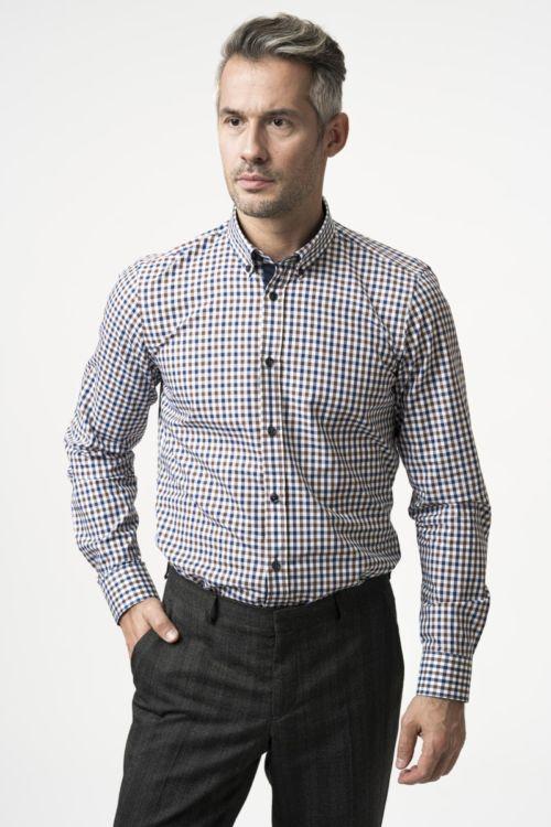 Muška karirana košulja u dvije boje - Slim fit