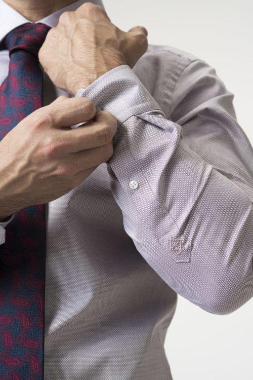 Muška lila košulja dugih rukava s mikro dezenom - Slim fit
