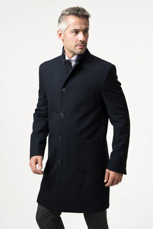 Muški tamno plavi kaput od runske vune