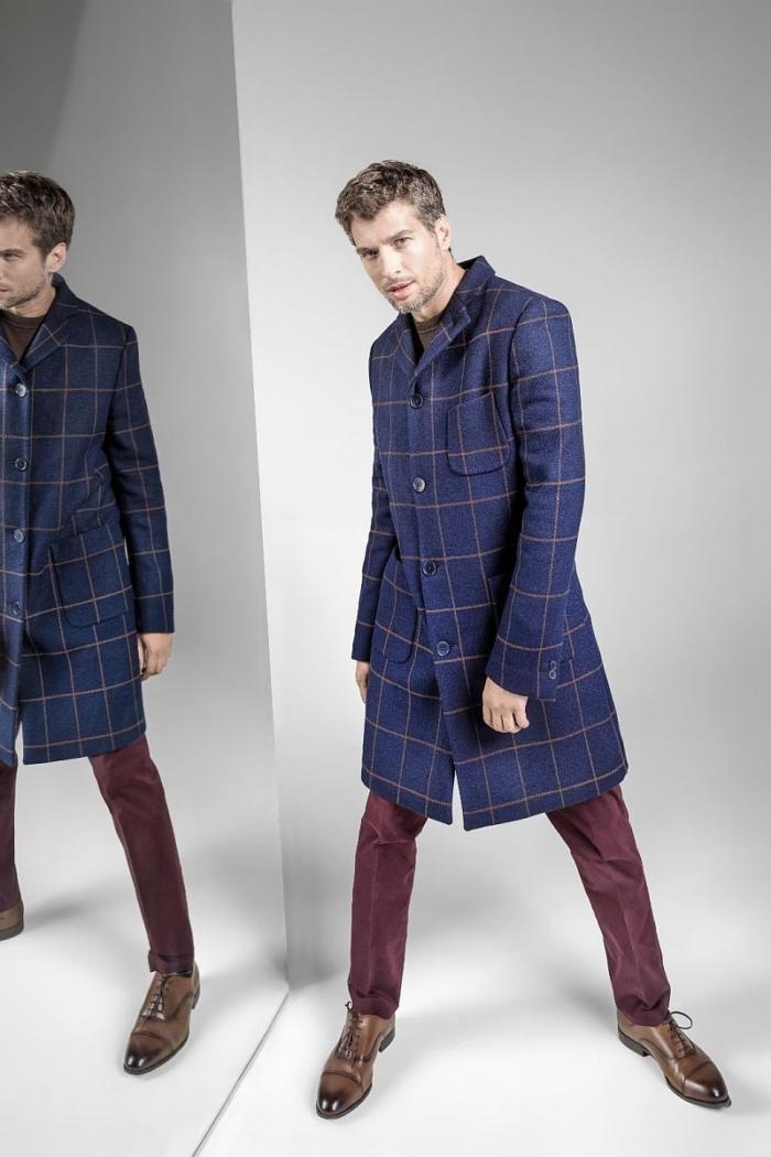 Men's chesterfield plaid coat