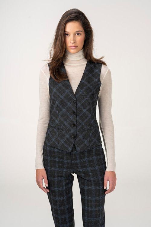 Ženski prsluk od odijela kariranog uzorka
