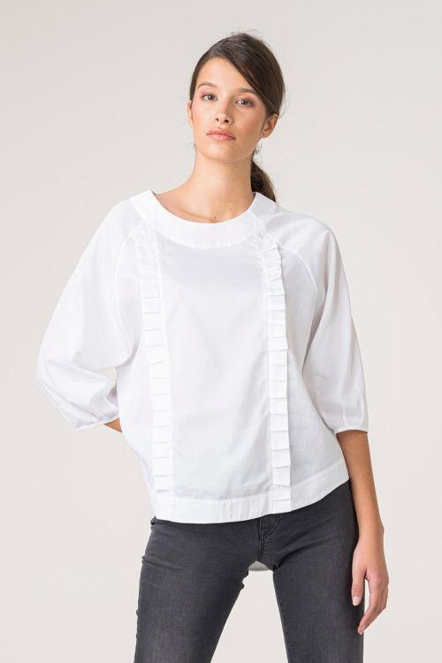Ženska bluza s faldama u dvije boje