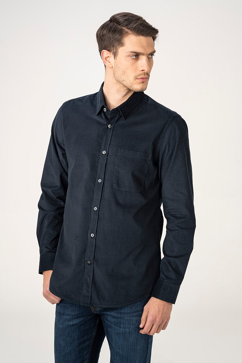 Varteks Men's velvet long-sleeved shirt in three colors