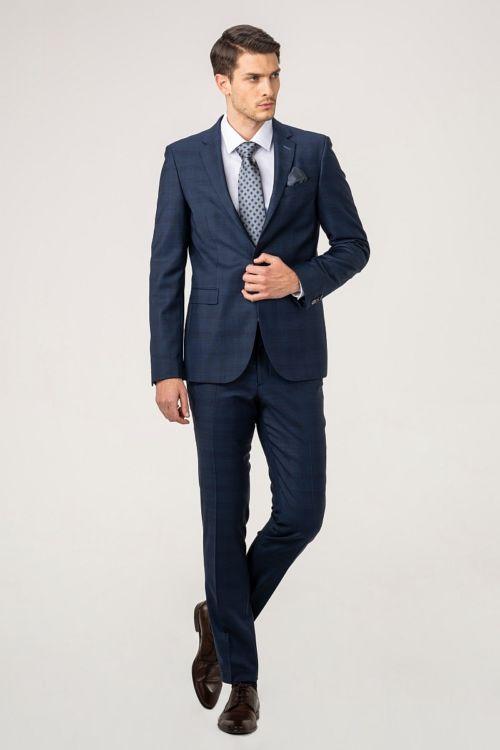 Plavo odijelo od runske vune kariranog uzorka - Slim fit
