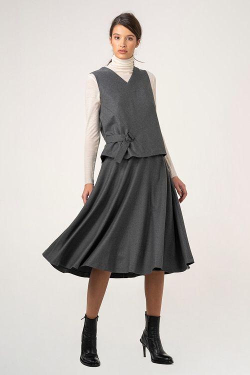 Ženska midi suknja melange sive boje