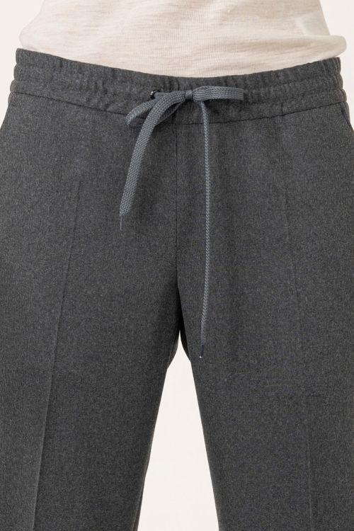 Ženske hlače na vezanje melange sive boje