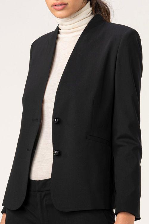 Ženski crni sako bez kragne