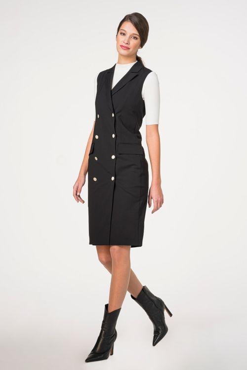 Elegantna crna haljina s dvostrukim kopčanjem