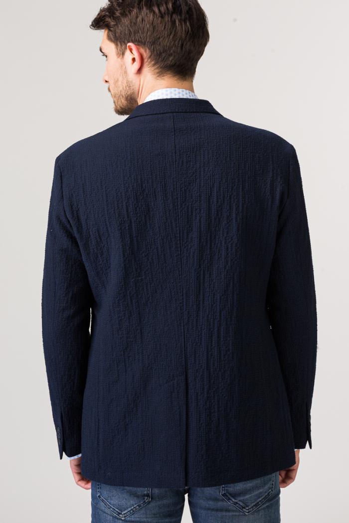 Tamno plavi muški sako uzorka seersucker
