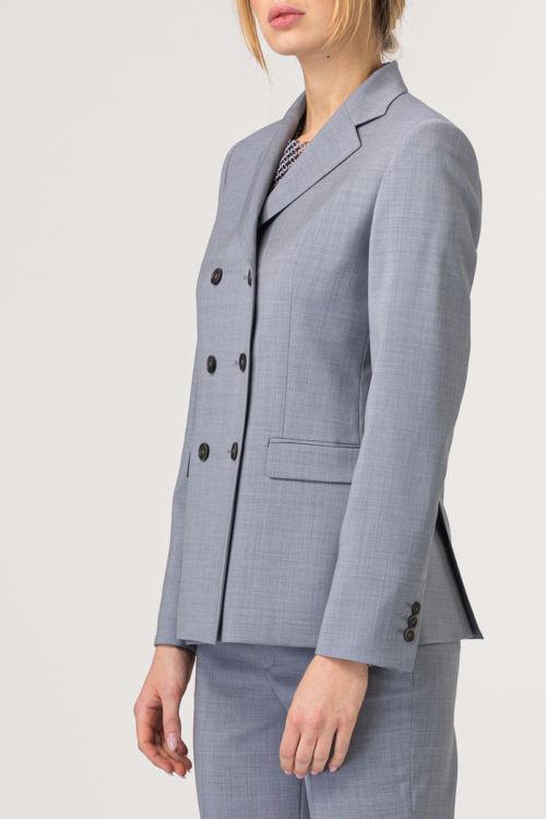 Ženski sivi sako na dvostruko kopčanje - 100% runska vuna