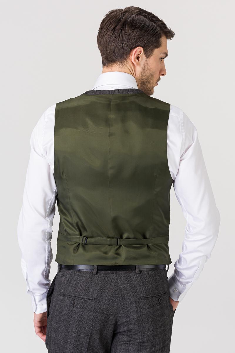 Sivi karirani prsluk od odijela