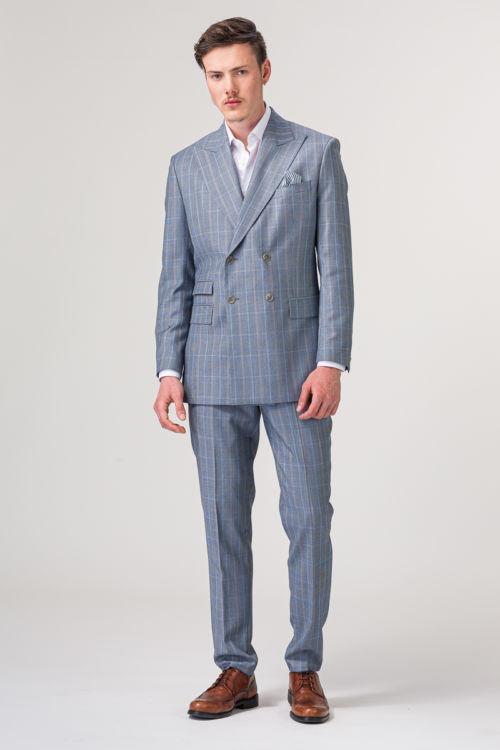 YOUNG muške svijetlo plave karirane hlače od odijela