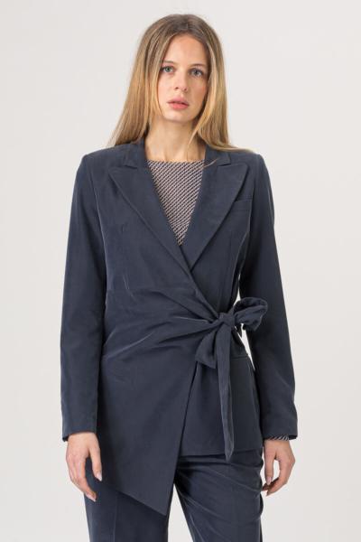 Tamno plavi baršunasti sako na vezanje
