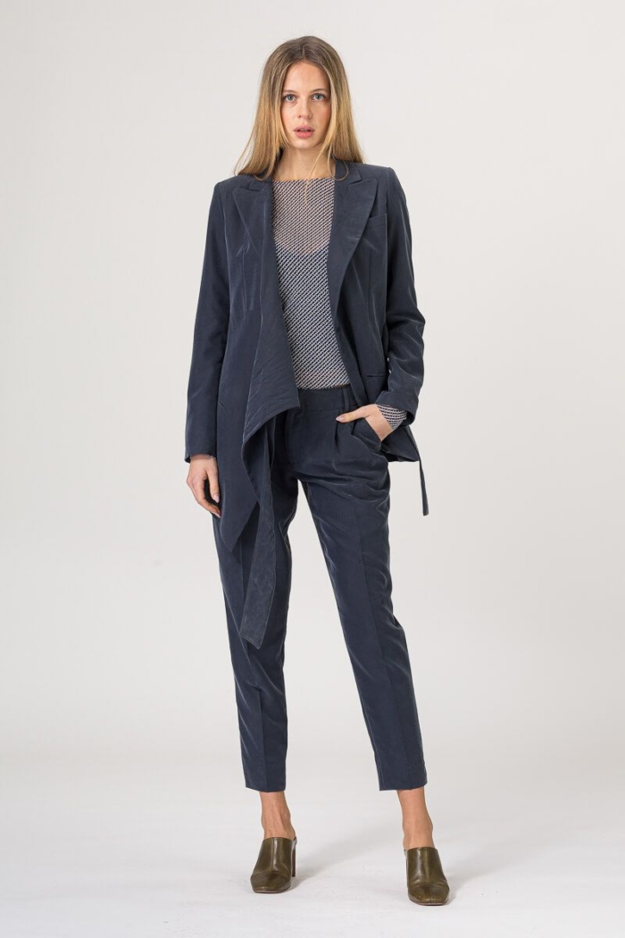 Ženske tamno plave baršunaste hlače