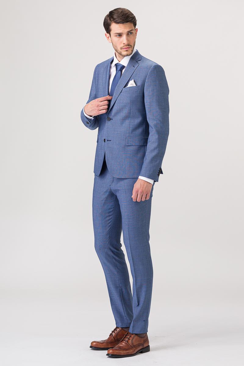 Muško odijelo sitnog kariranog uzorka - Slim fit
