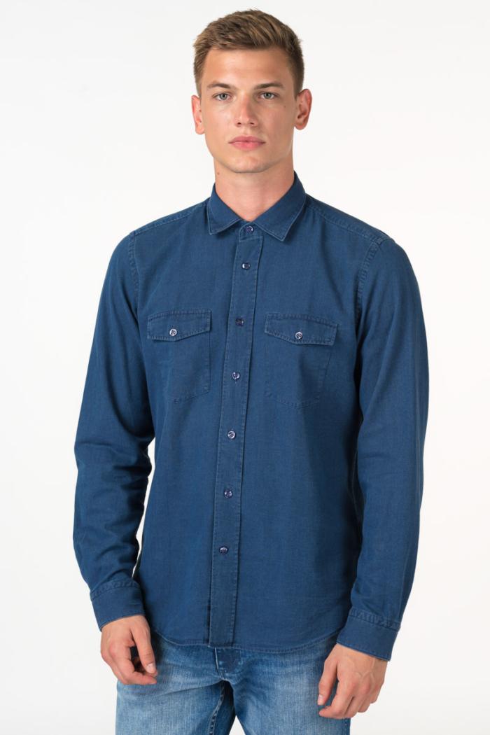 Ležerna muška tamno plava košulja