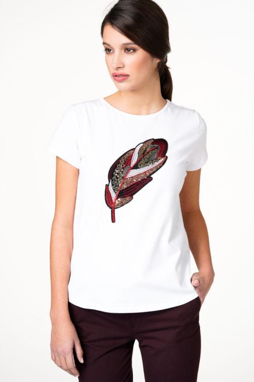 Bijela majica s motivom pera