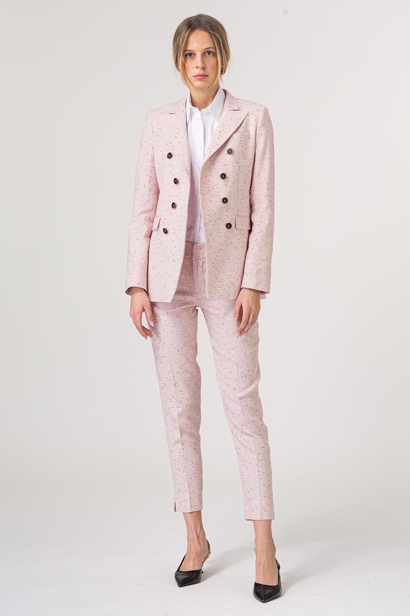Ženske hlače roze boje s crveno bijelim detaljima