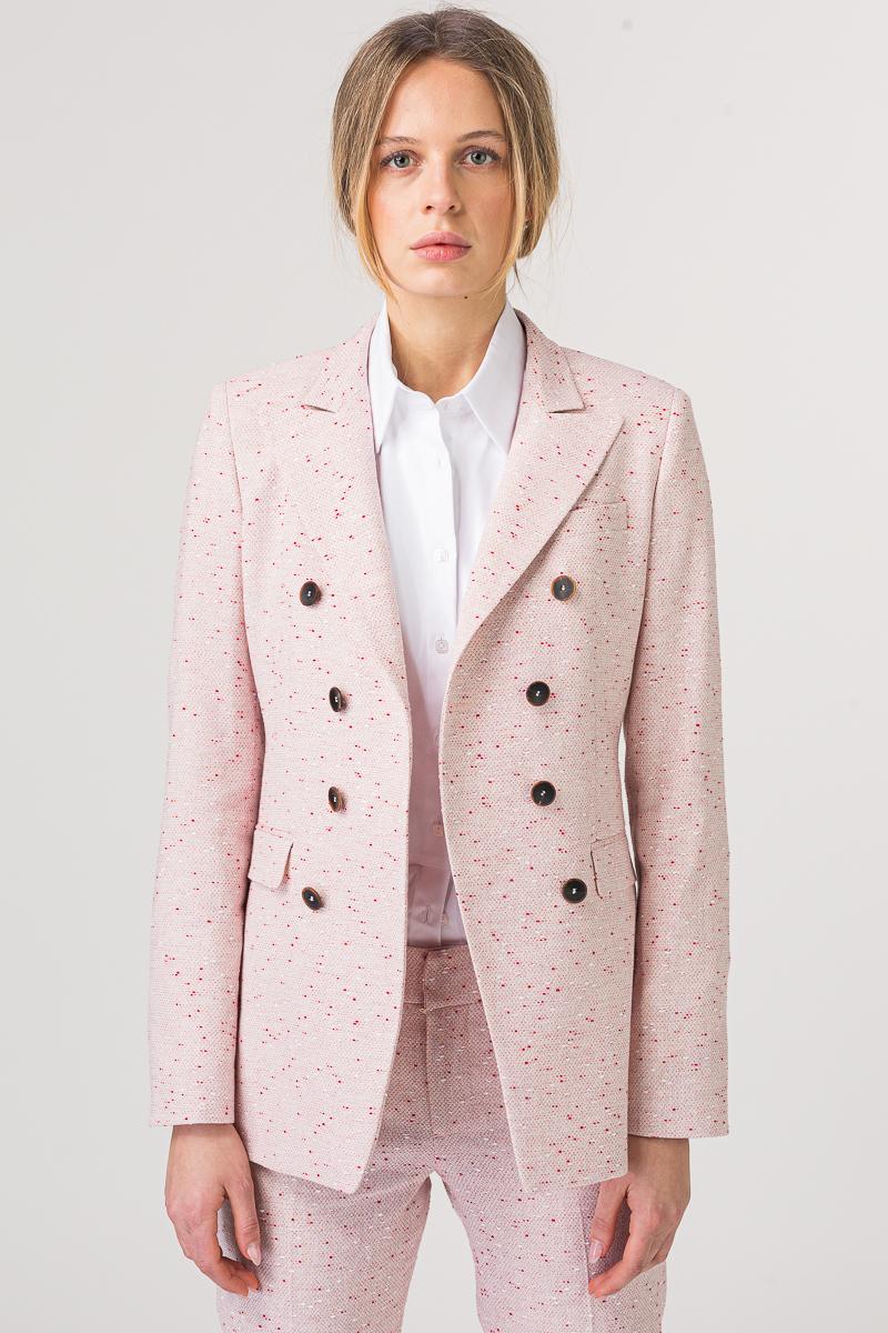 Ženski sako roze boje sa crveno bijelim detaljima