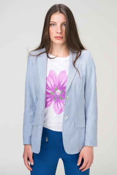 Svijetlo plavi prugasti smart casual sako