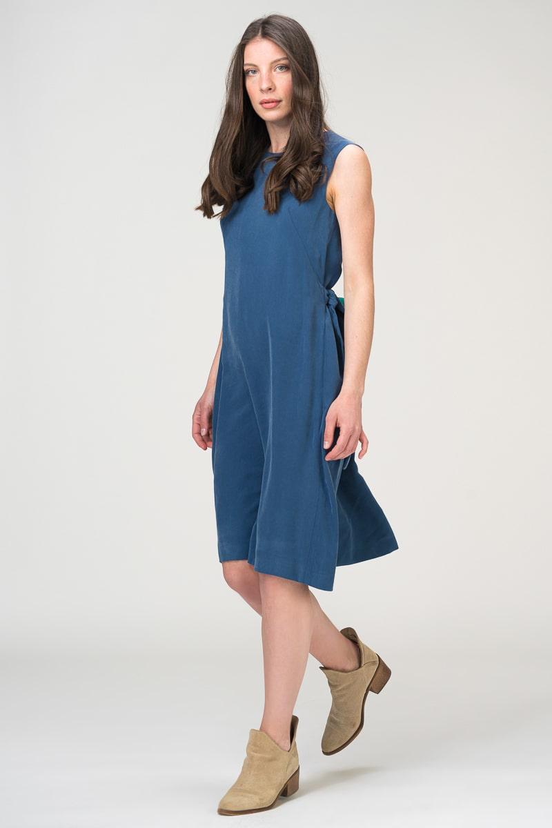 Modularna plava haljina bez rukava