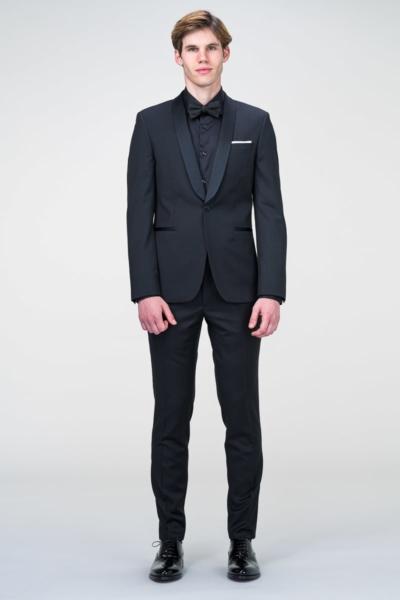 Muško crno smoking odijelo Super 100's - Slim fit