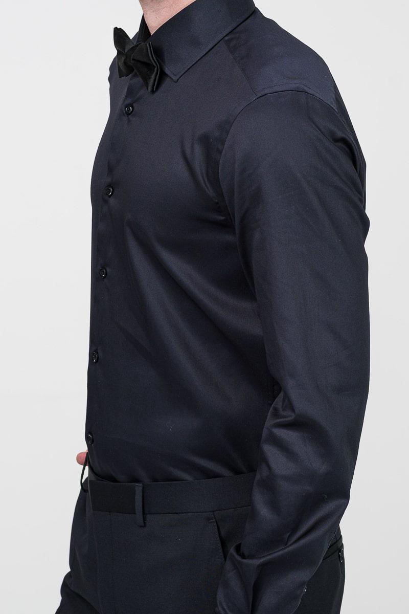 Muška crna košulja dugih rukava Fine Twill 100's