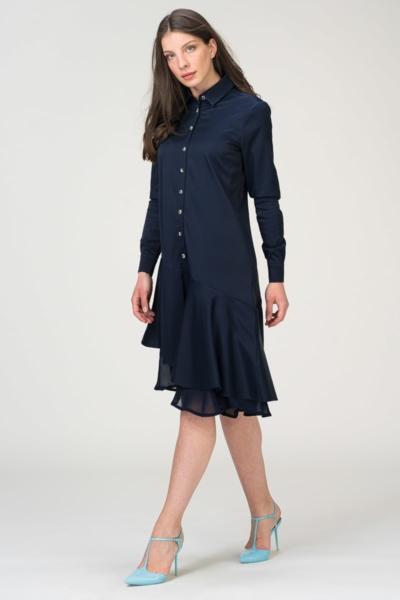 Tamno plava haljina s kosim volanima