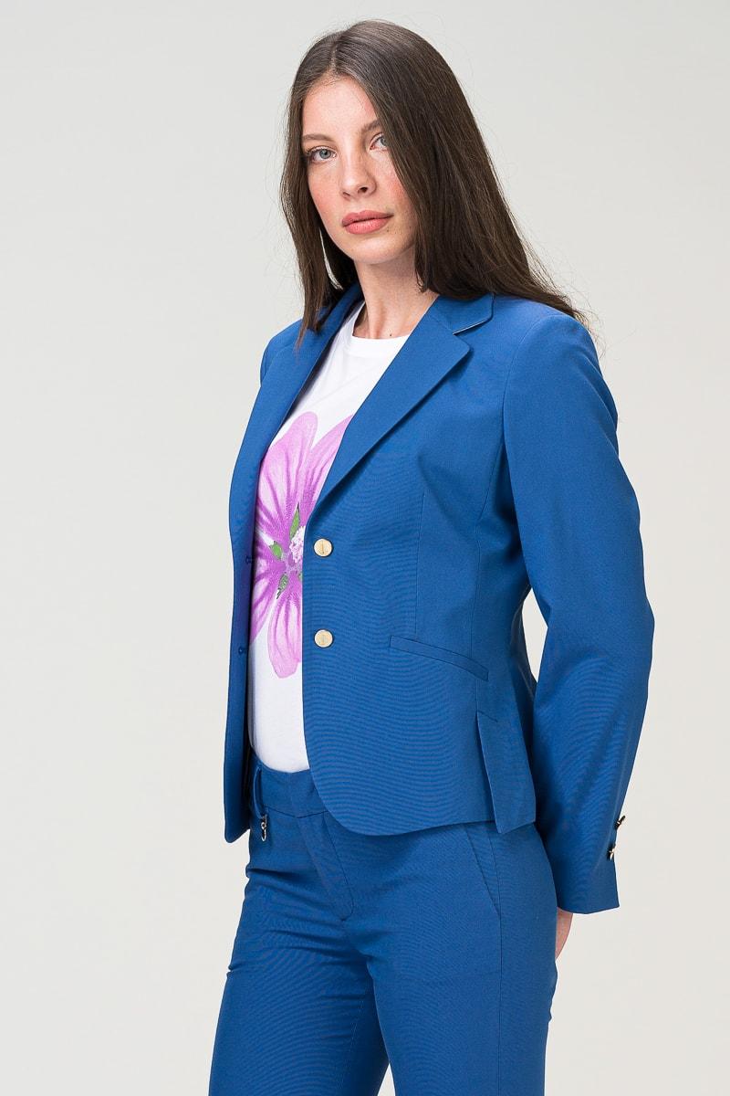 Kratki ženski sako otvoreno plave boje