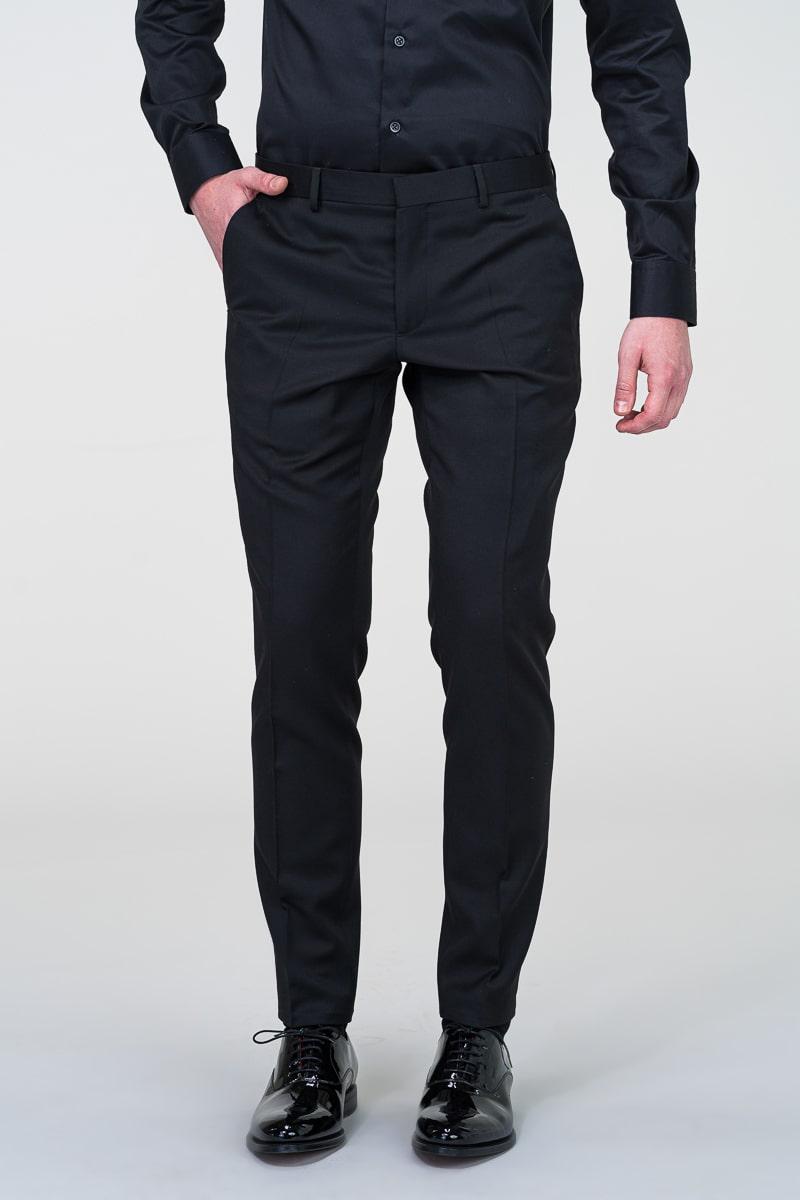 Crne muške hlače smoking odijela - Slim fit