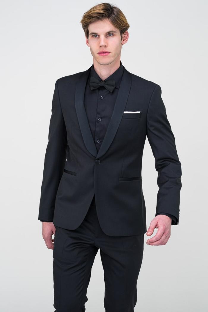 Muški crni smoking sako odijela Super 100's - Slim fit