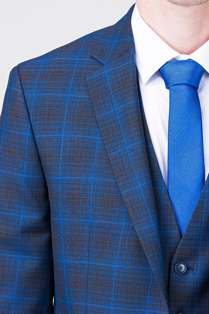 Moderno muško plavo karirano odijelo - Regular fit