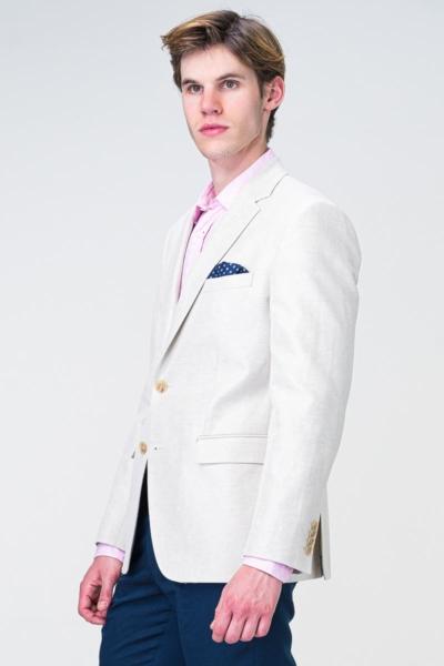 Muški pamučni bijeli sako s lanom - Regular fit