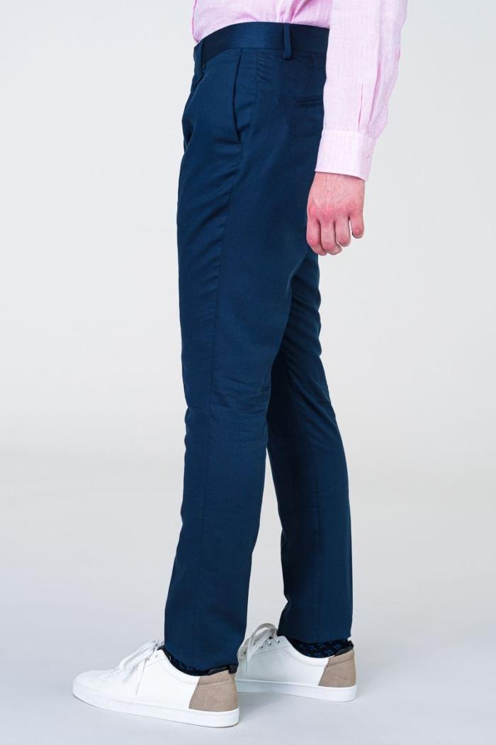 Tamno plave smart casual hlače sa svilom - Slim fit