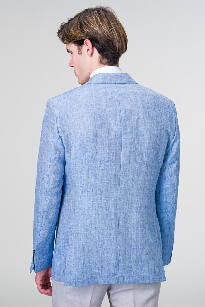 Laneni muški sako svijetlo plave boje - Regular fit