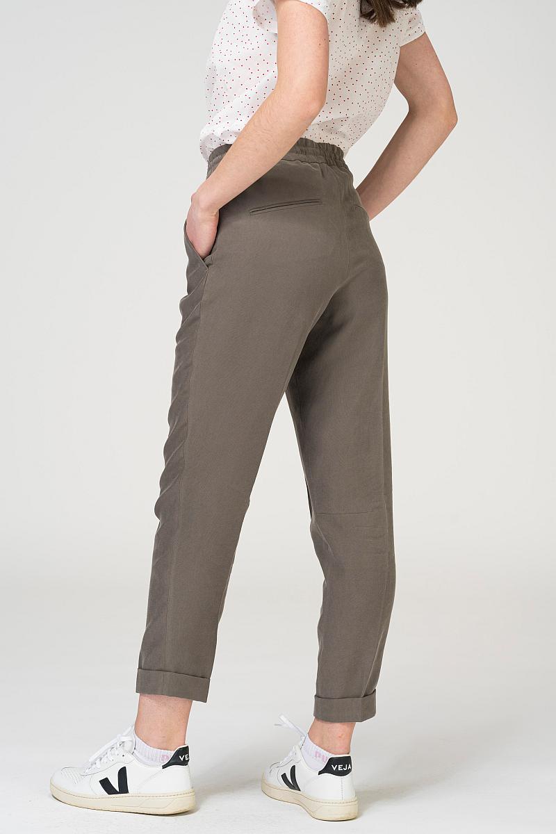 Sivo zelene ženske hlače na vezanje