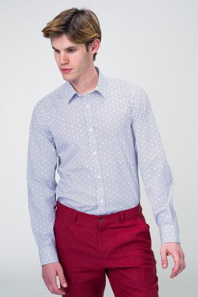 Bijela dezenirana košulja dugih rukava - Slim fit