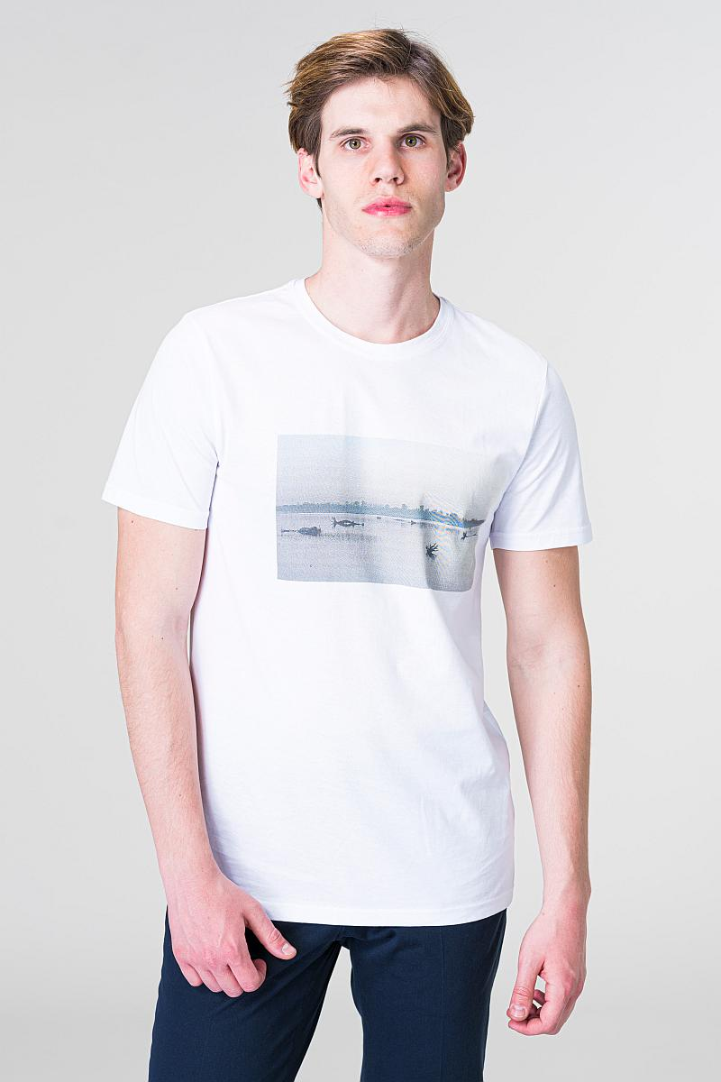 Pomaknuta muška T-shirt majica s motivom rijeke