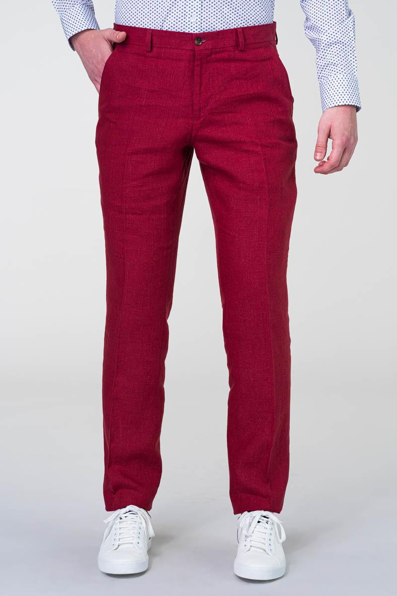 Muške crvene lanene hlače - Regular fit