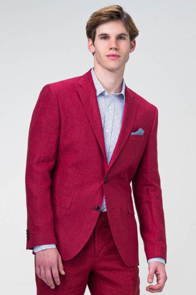 Muški crveni laneni sako - Regular fit