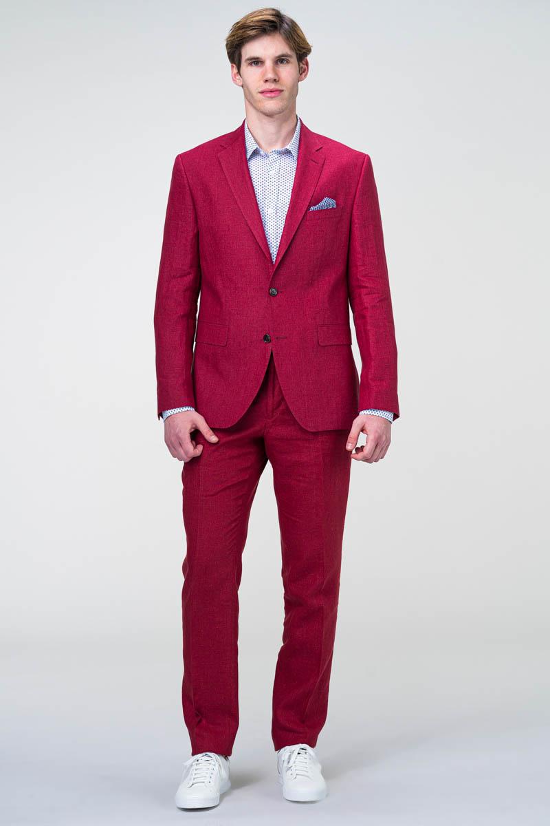 Muško crveno laneno odijelo - Regular fit