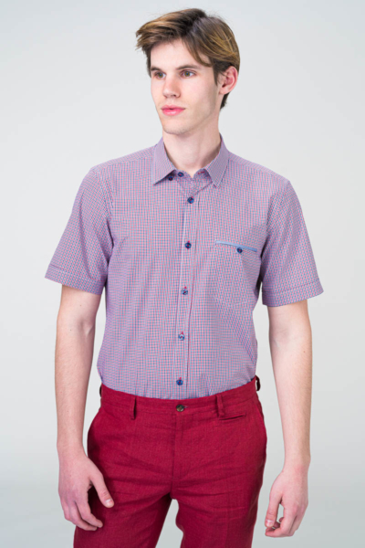 Muška gingham košulja kratkih rukava u dvije boje - Slim fit