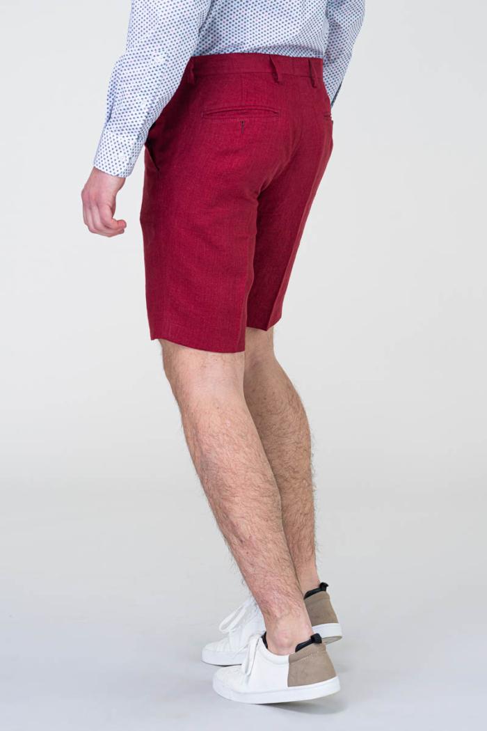 Muške crvene lanene bermude - Regular fit