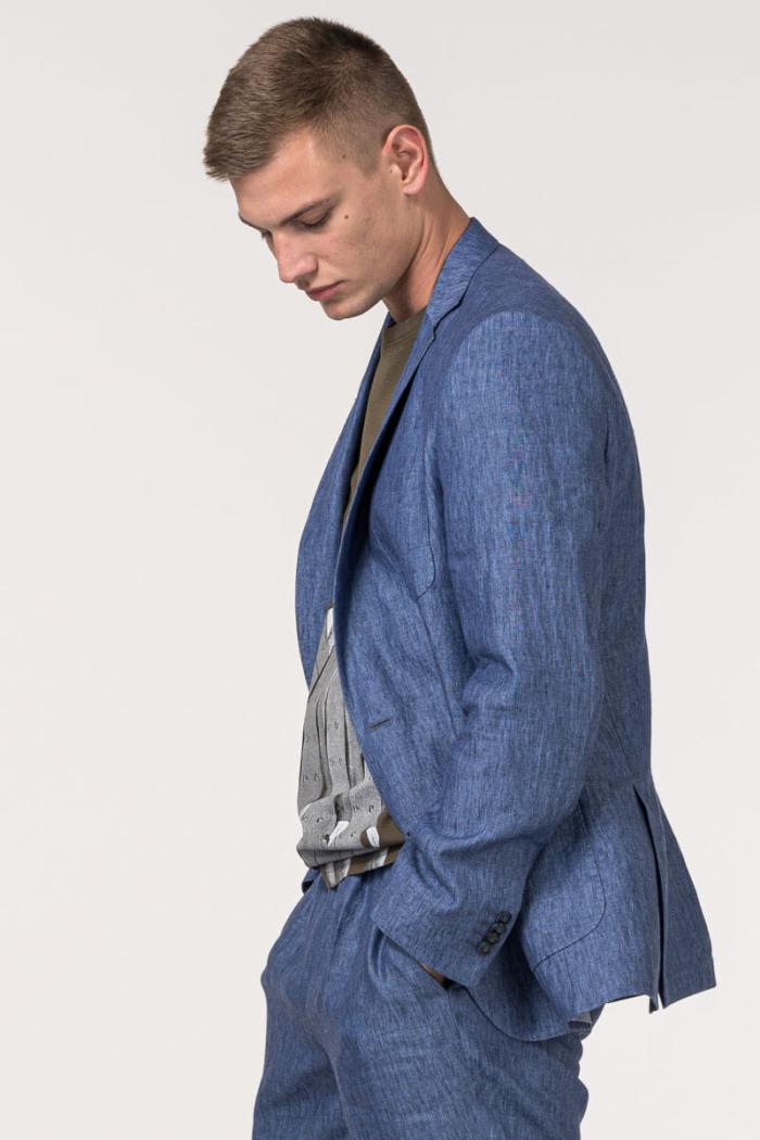VARTEKS - Muški plavi laneni sako - Regular fit