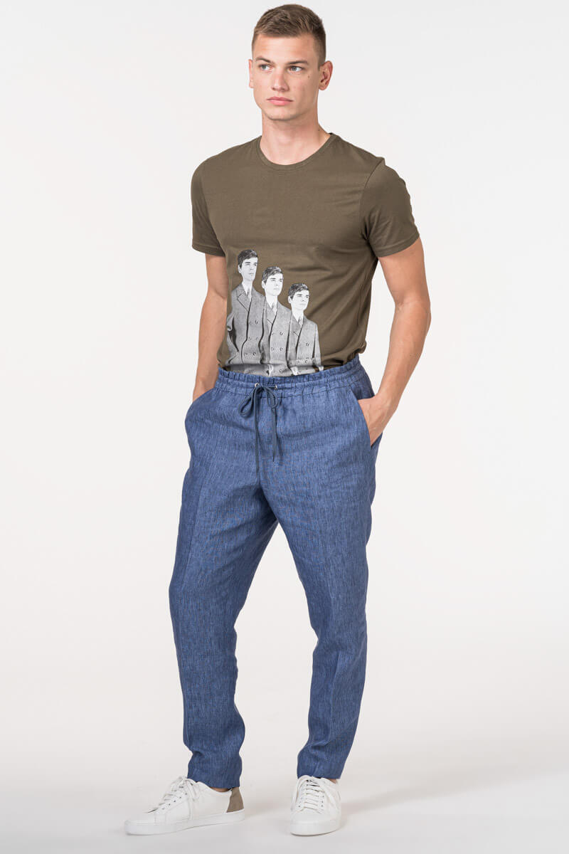 VARTEKS - Muške plave lanene hlače koje se vežu u struku - Regular fit
