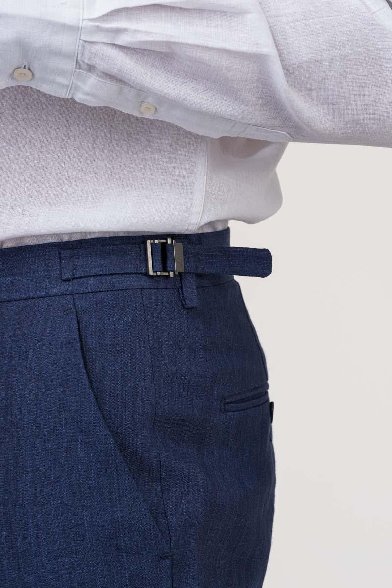 VARTEKS Muške lanene hlače mornarsko plave boje - Regular fit