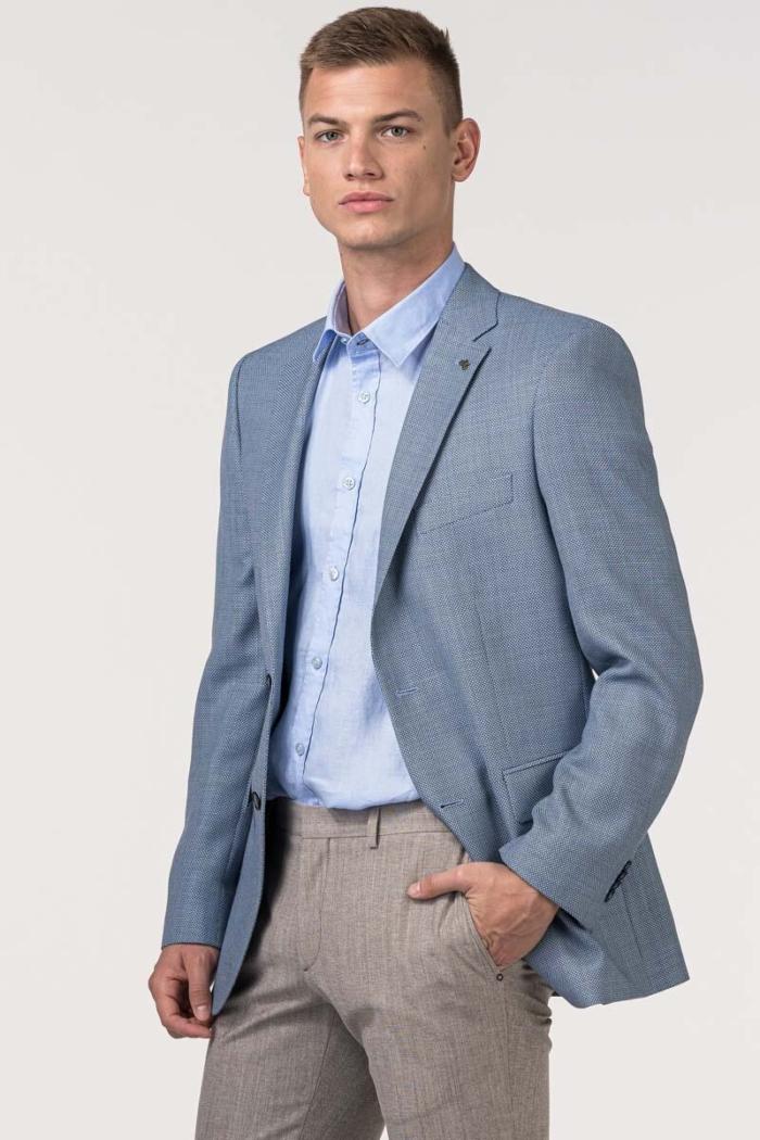 VARTEKS Muški plavi sako sa sitnim dezenom – Comfort fit