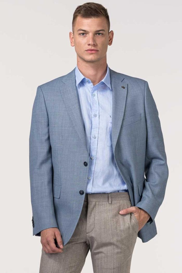 VARTEKS Muški plavi sako sa sitnim dezenom - Comfort fit