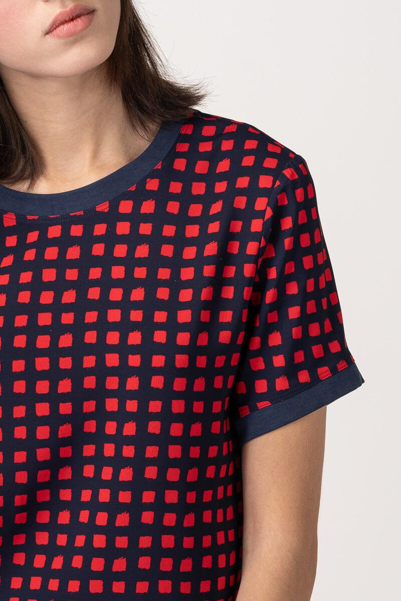 VARTEKS Ženska majica kratkih rukava s crvenim kockicama