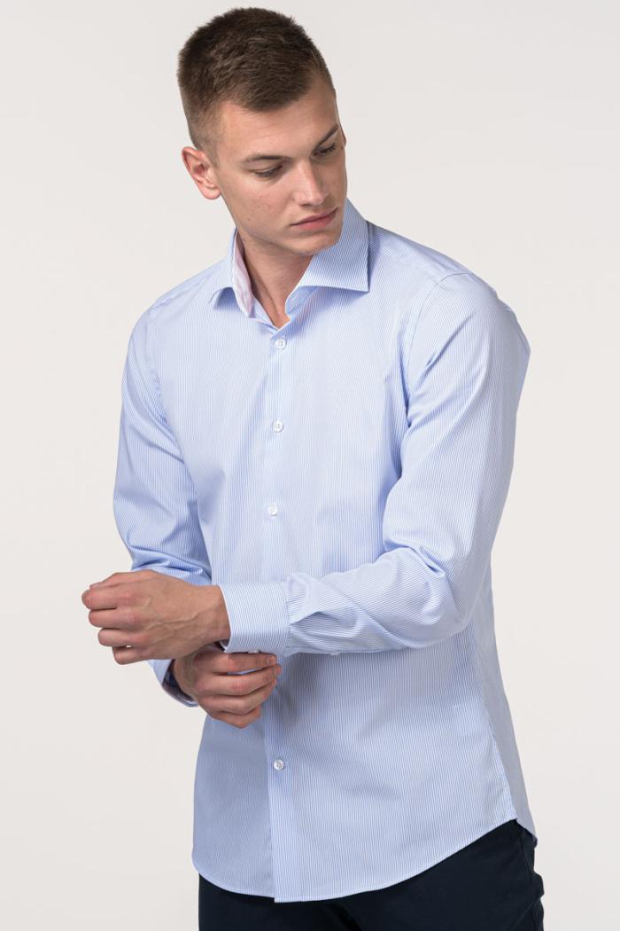 VARTEKS EASY IRON - Muška košulja dugih rukava s plavo bijelim prugicama - Slim fit